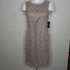 NWT $188 VINCE CAMUTO Beige Lace Sheer Back Dress